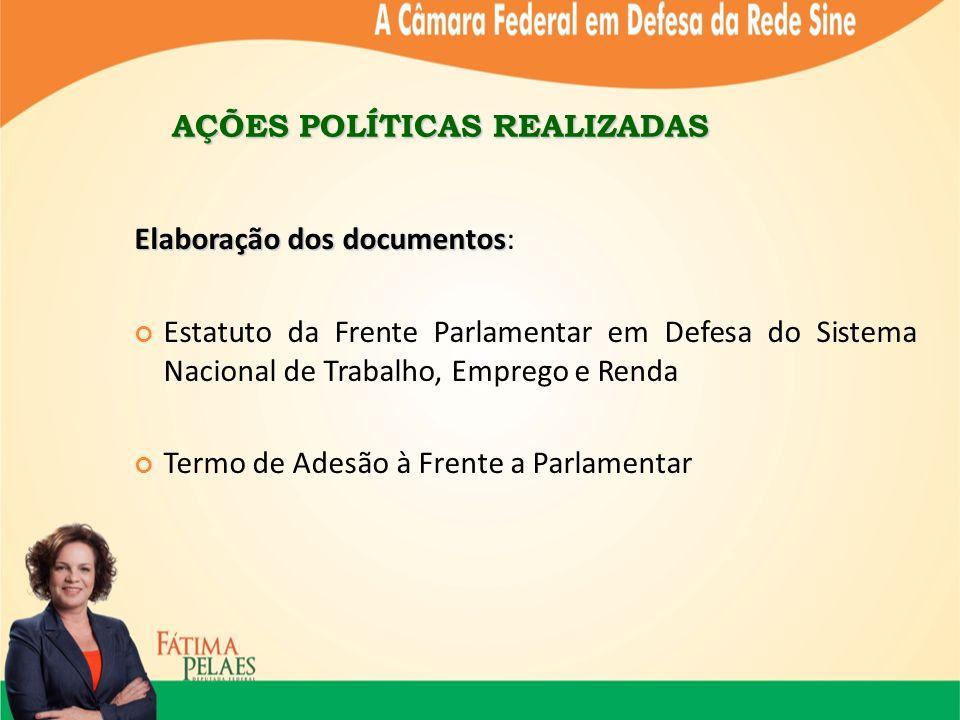 AÇÕES POLÍTICAS REALIZADAS Elaboração dos documentos Elaboração dos documentos: Estatuto da Frente Parlamentar em Defesa do Sistema Nacional de Trabalho, Emprego e Renda Termo de Adesão à Frente a Parlamentar