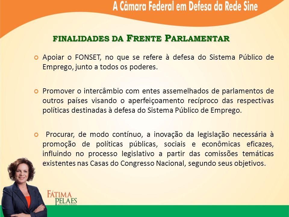 FINALIDADES DA F RENTE P ARLAMENTAR Apoiar o FONSET, no que se refere à defesa do Sistema Público de Emprego, junto a todos os poderes.