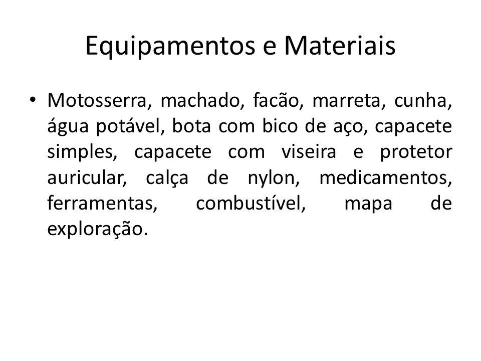 Equipamentos e Materiais Motosserra, machado, facão, marreta, cunha, água potável, bota com bico de aço, capacete simples, capacete com viseira e prot