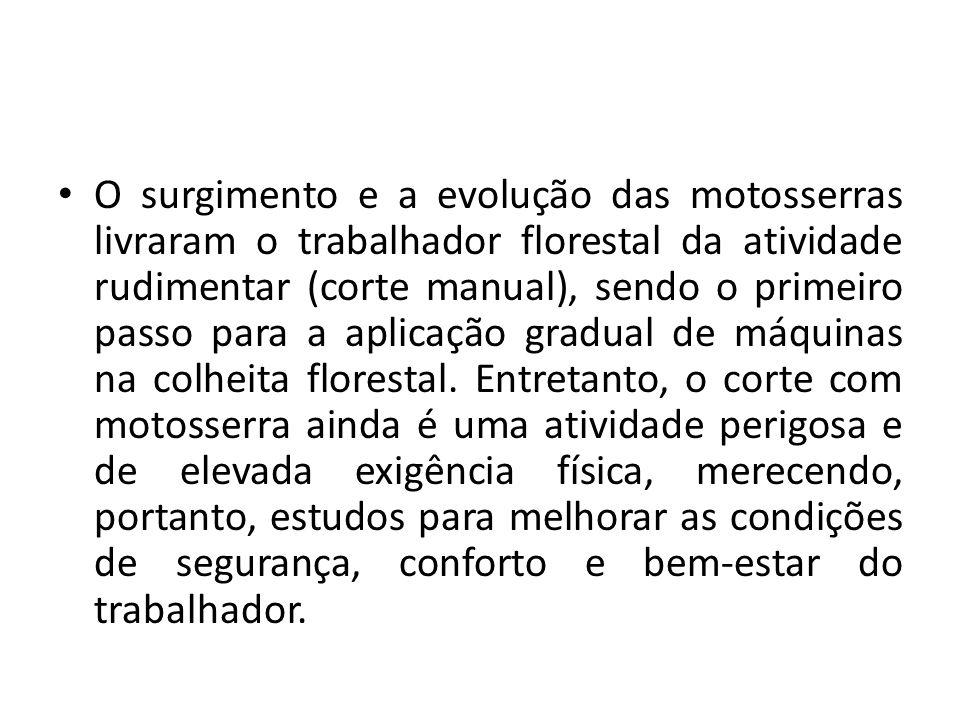 O surgimento e a evolução das motosserras livraram o trabalhador florestal da atividade rudimentar (corte manual), sendo o primeiro passo para a aplic
