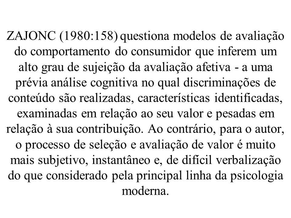 ZAJONC (1980:158) questiona modelos de avaliação do comportamento do consumidor que inferem um alto grau de sujeição da avaliação afetiva - a uma prév
