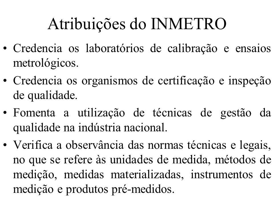 Atribuições do INMETRO Credencia os laboratórios de calibração e ensaios metrológicos. Credencia os organismos de certificação e inspeção de qualidade