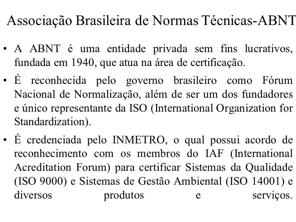 Associação Brasileira de Normas Técnicas-ABNT A ABNT é uma entidade privada sem fins lucrativos, fundada em 1940, que atua na área de certificação. É