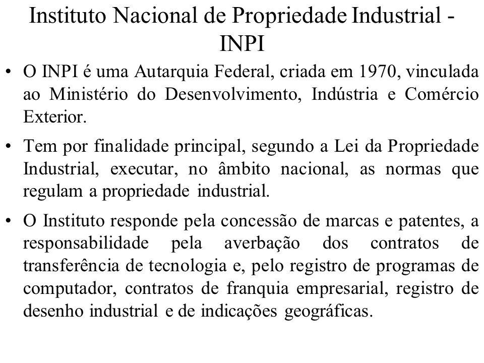 Instituto Nacional de Propriedade Industrial - INPI O INPI é uma Autarquia Federal, criada em 1970, vinculada ao Ministério do Desenvolvimento, Indúst