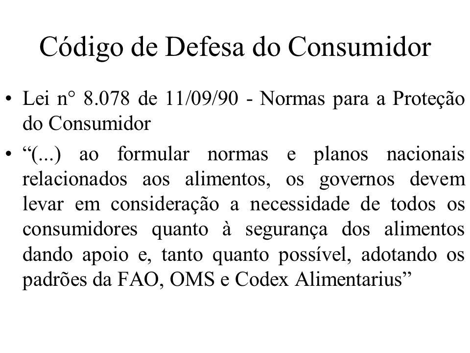 Código de Defesa do Consumidor Lei n° 8.078 de 11/09/90 - Normas para a Proteção do Consumidor (...) ao formular normas e planos nacionais relacionado