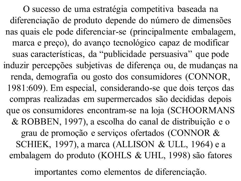 O sucesso de uma estratégia competitiva baseada na diferenciação de produto depende do número de dimensões nas quais ele pode diferenciar-se (principa