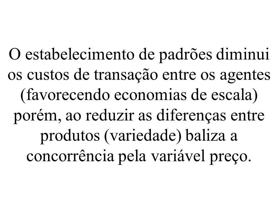 O estabelecimento de padrões diminui os custos de transação entre os agentes (favorecendo economias de escala) porém, ao reduzir as diferenças entre p