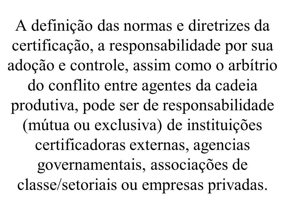 A definição das normas e diretrizes da certificação, a responsabilidade por sua adoção e controle, assim como o arbítrio do conflito entre agentes da