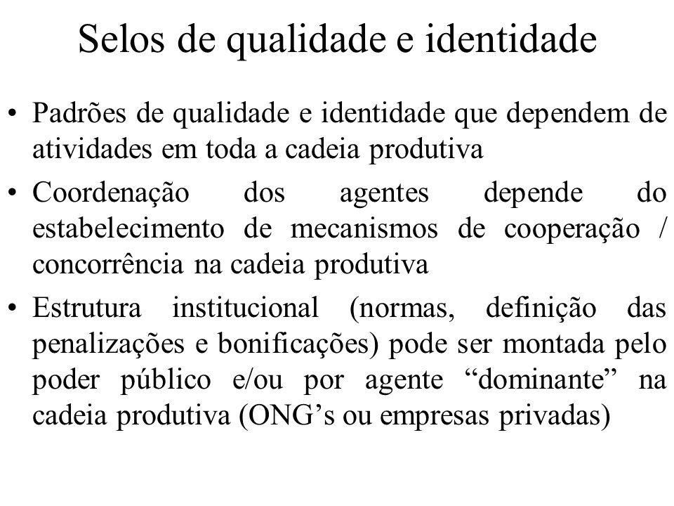 Selos de qualidade e identidade Padrões de qualidade e identidade que dependem de atividades em toda a cadeia produtiva Coordenação dos agentes depend