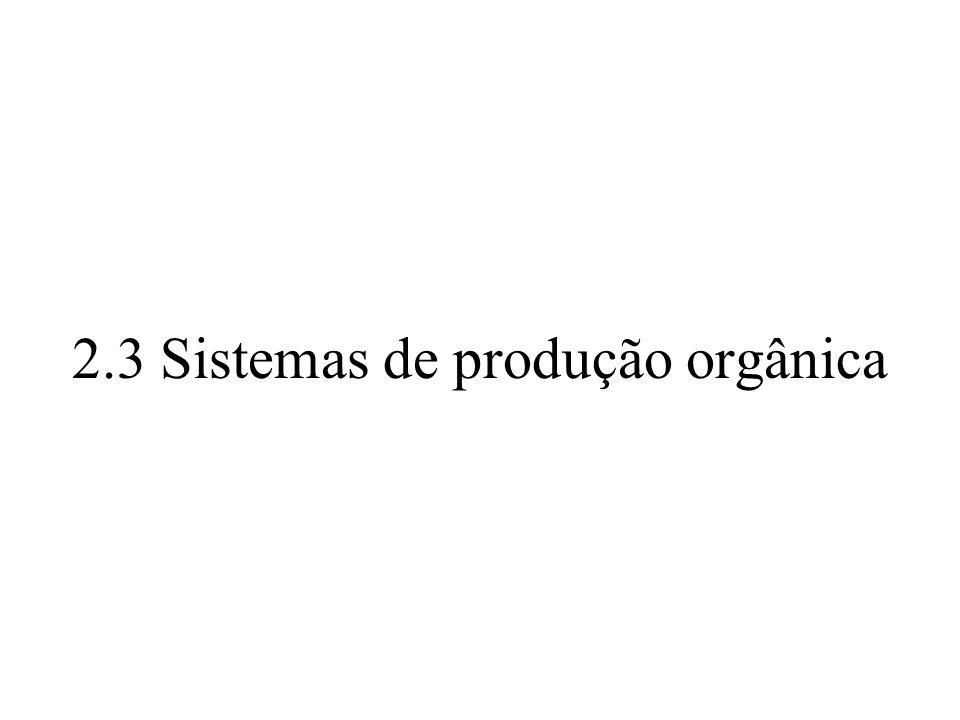 2.3 Sistemas de produção orgânica