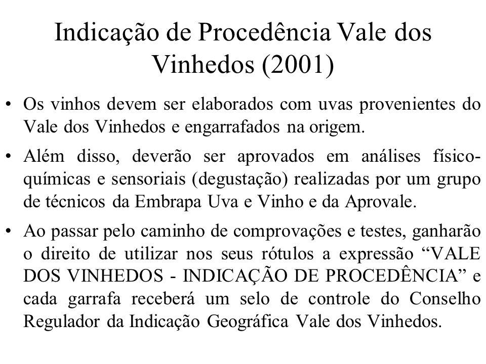 Indicação de Procedência Vale dos Vinhedos (2001) Os vinhos devem ser elaborados com uvas provenientes do Vale dos Vinhedos e engarrafados na origem.