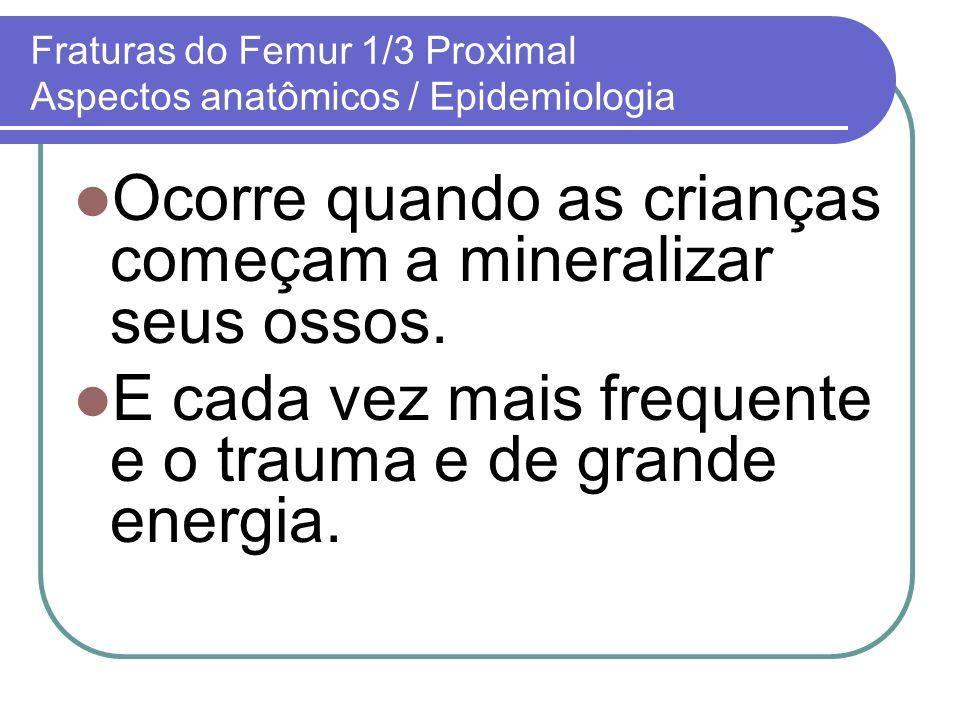 Fraturas do Femur 1/3 Proximal Aspectos anatômicos / Epidemiologia Ocorre quando as crianças começam a mineralizar seus ossos. E cada vez mais frequen