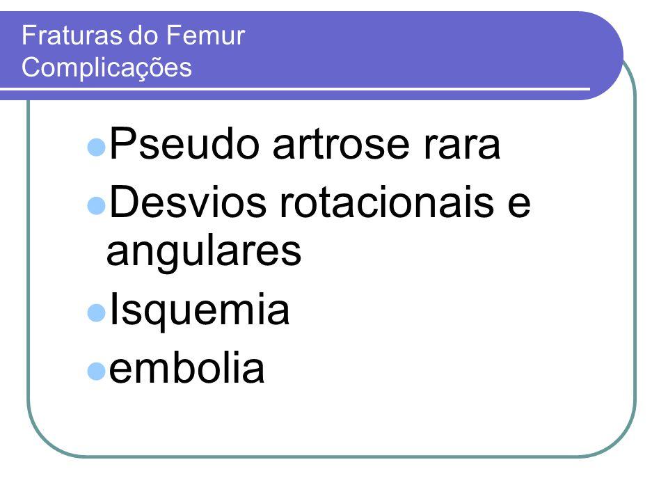 Fraturas do Femur Complicações Pseudo artrose rara Desvios rotacionais e angulares Isquemia embolia
