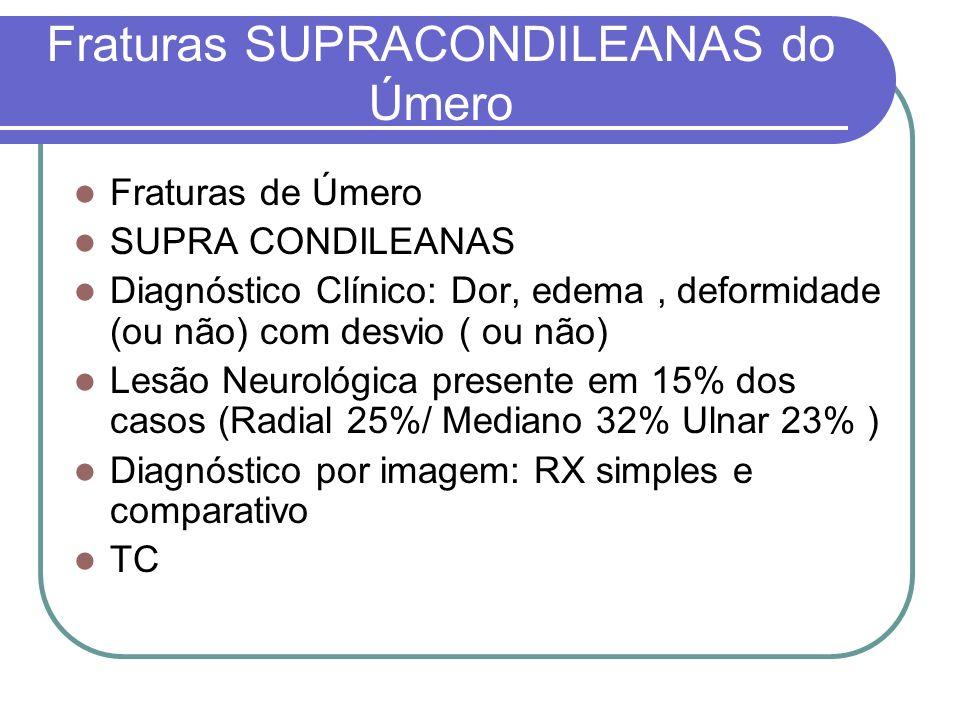 Fraturas SUPRACONDILEANAS do Úmero Fraturas de Úmero SUPRA CONDILEANAS Diagnóstico Clínico: Dor, edema, deformidade (ou não) com desvio ( ou não) Lesã