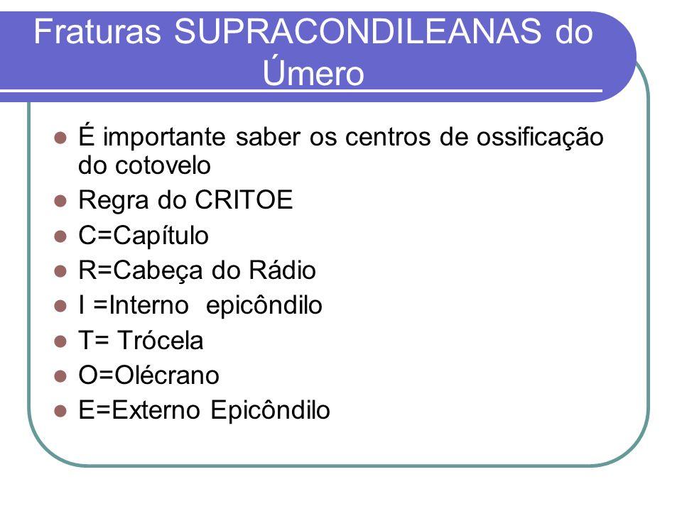 Fraturas SUPRACONDILEANAS do Úmero É importante saber os centros de ossificação do cotovelo Regra do CRITOE C=Capítulo R=Cabeça do Rádio I =Interno ep