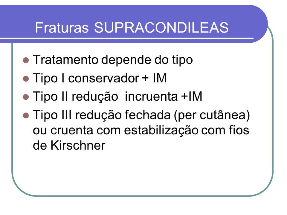 Fraturas SUPRACONDILEAS Tratamento depende do tipo Tipo I conservador + IM Tipo II redução incruenta +IM Tipo III redução fechada (per cutânea) ou cru