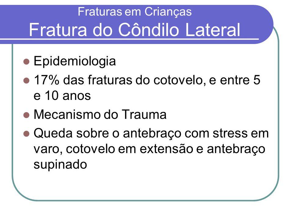Fraturas em Crianças Fratura do Côndilo Lateral Epidemiologia 17% das fraturas do cotovelo, e entre 5 e 10 anos Mecanismo do Trauma Queda sobre o ante