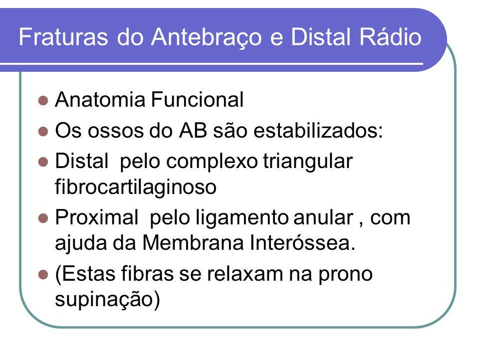 Fraturas do Antebraço e Distal Rádio Anatomia Funcional Os ossos do AB são estabilizados: Distal pelo complexo triangular fibrocartilaginoso Proximal