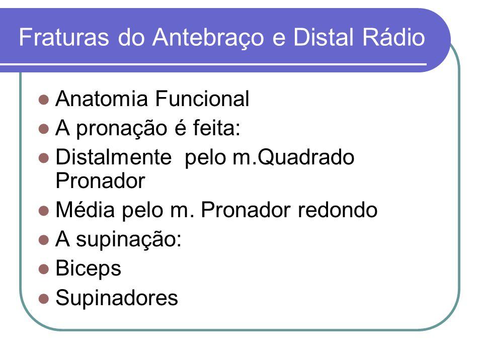 Fraturas do Antebraço e Distal Rádio Anatomia Funcional A pronação é feita: Distalmente pelo m.Quadrado Pronador Média pelo m. Pronador redondo A supi