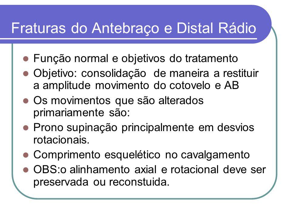 Fraturas do Antebraço e Distal Rádio Função normal e objetivos do tratamento Objetivo: consolidação de maneira a restituir a amplitude movimento do co