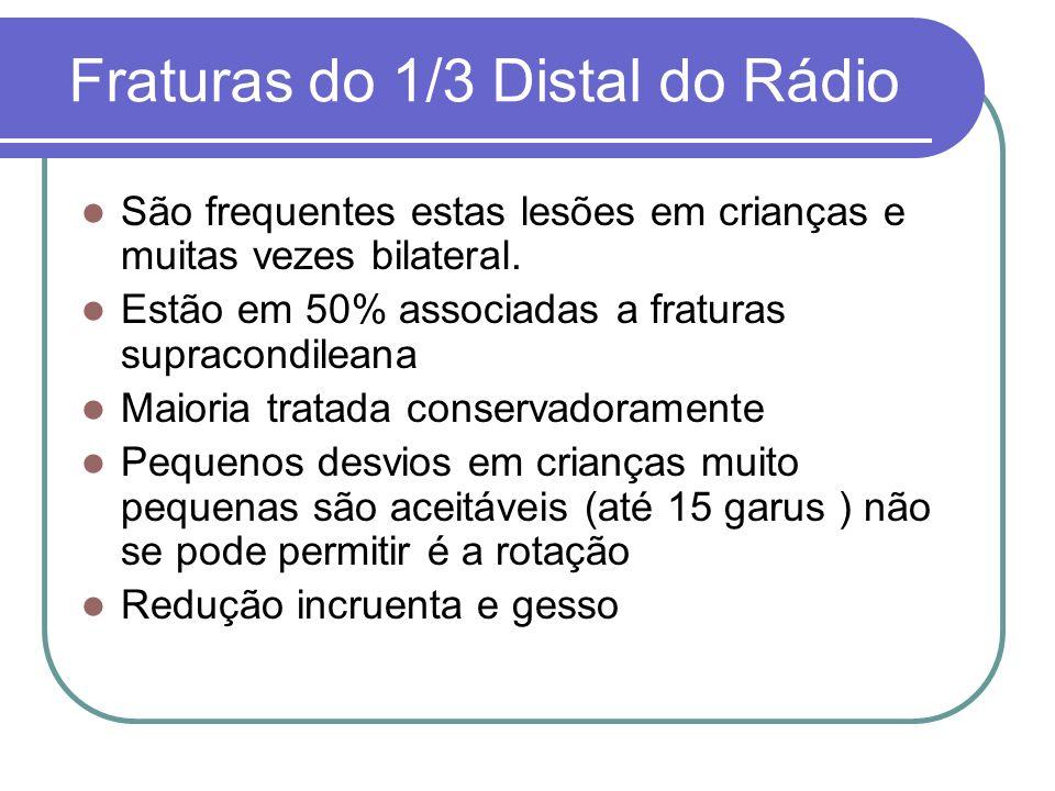 Fraturas do 1/3 Distal do Rádio São frequentes estas lesões em crianças e muitas vezes bilateral. Estão em 50% associadas a fraturas supracondileana M