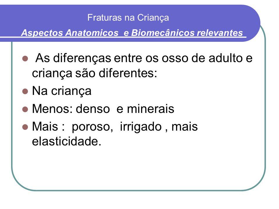 Fraturas na Criança As diferenças entre os osso de adulto e criança são diferentes: Na criança Menos: denso e minerais Mais : poroso, irrigado, mais e