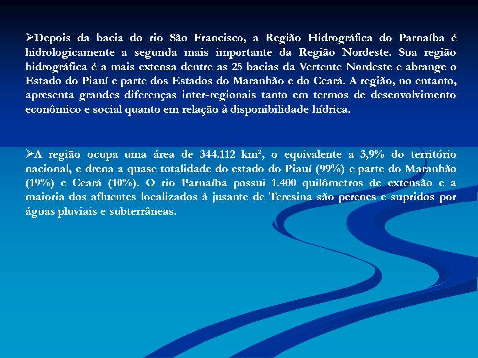 Depois da bacia do rio São Francisco, a Região Hidrográfica do Parnaíba é hidrologicamente a segunda mais importante da Região Nordeste. Sua região hi