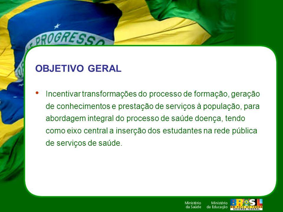 OBJETIVO GERAL Incentivar transformações do processo de formação, geração de conhecimentos e prestação de serviços à população, para abordagem integra