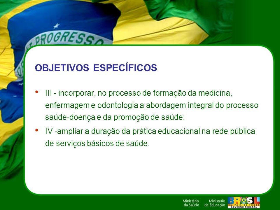 OBJETIVOS ESPECÍFICOS III - incorporar, no processo de formação da medicina, enfermagem e odontologia a abordagem integral do processo saúde-doença e