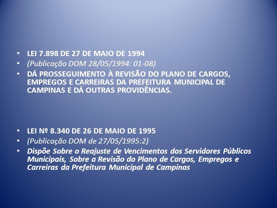 LEI 7.898 DE 27 DE MAIO DE 1994 (Publicação DOM 28/05/1994: 01-08) DÁ PROSSEGUIMENTO À REVISÃO DO PLANO DE CARGOS, EMPREGOS E CARREIRAS DA PREFEITURA MUNICIPAL DE CAMPINAS E DÁ OUTRAS PROVIDÊNCIAS.