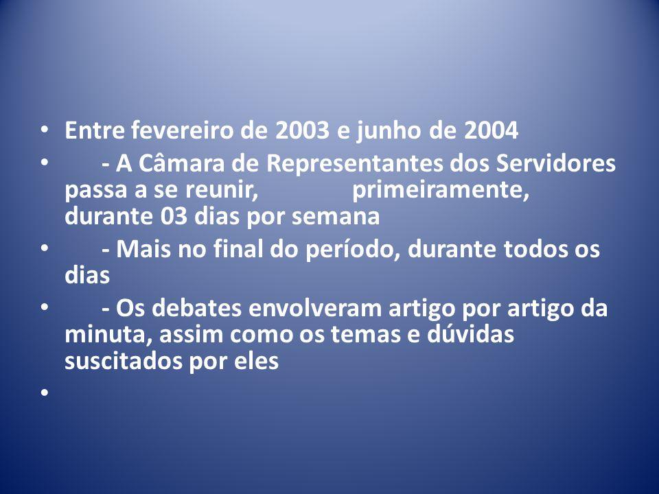 Entre fevereiro de 2003 e junho de 2004 - A Câmara de Representantes dos Servidores passa a se reunir, primeiramente, durante 03 dias por semana - Mais no final do período, durante todos os dias - Os debates envolveram artigo por artigo da minuta, assim como os temas e dúvidas suscitados por eles
