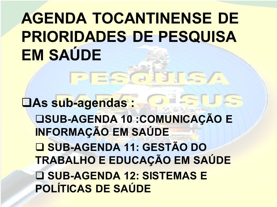 AGENDA TOCANTINENSE DE PRIORIDADES DE PESQUISA EM SAÚDE As sub-agendas : SUB-AGENDA 13 :SAÚDE, AMBIENTE, TRABALHO E BIOSSEGURANÇA SUB-AGENDA 14: ASSISTÊNCIA FARMACÊUTICA