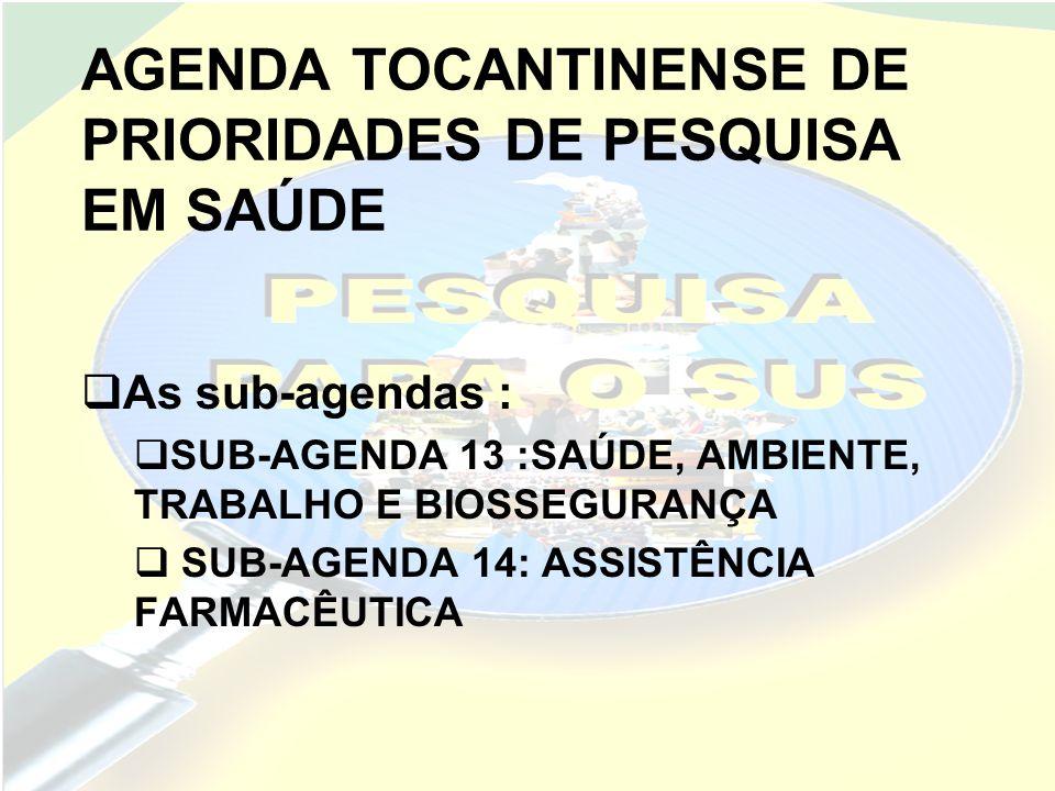 AGENDA TOCANTINENSE DE PRIORIDADES DE PESQUISA EM SAÚDE OBRIGADA!!!!!