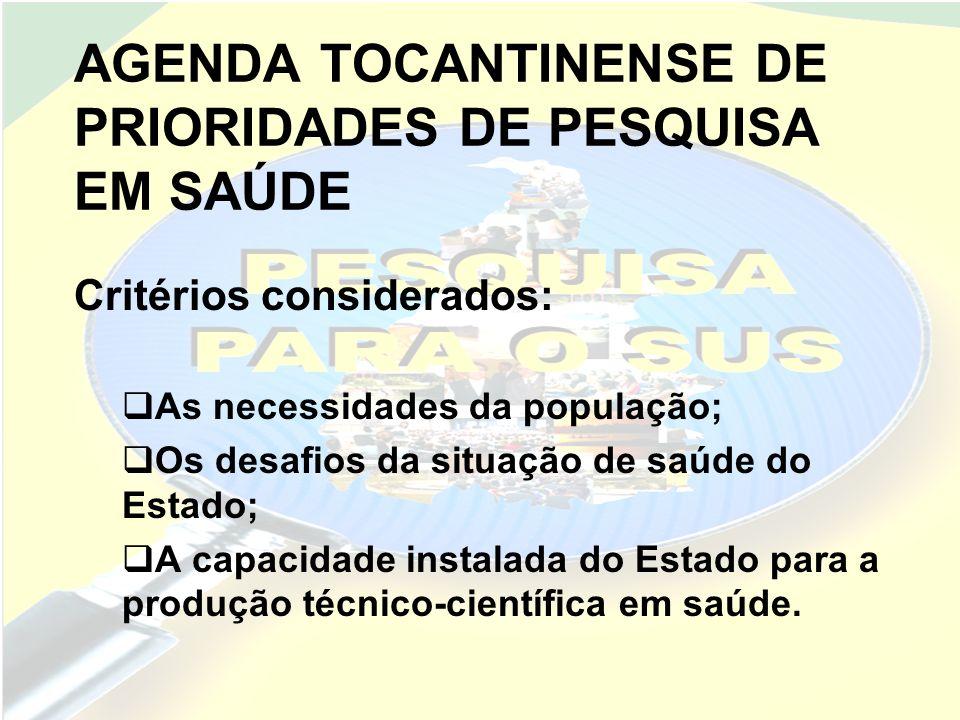 AGENDA TOCANTINENSE DE PRIORIDADES DE PESQUISA EM SAÚDE As sub-agendas tem igual importância e sua ordenação na agenda ocorreu de forma aleatória.