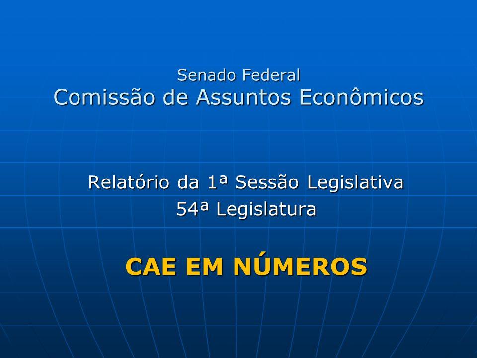 Senado Federal Comissão de Assuntos Econômicos Relatório da 1ª Sessão Legislativa 54ª Legislatura CAE EM NÚMEROS