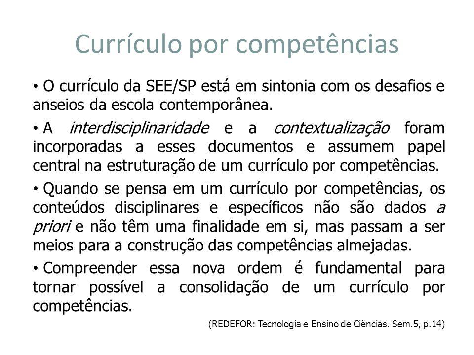 Currículo por competências O currículo da SEE/SP está em sintonia com os desafios e anseios da escola contemporânea. A interdisciplinaridade e a conte