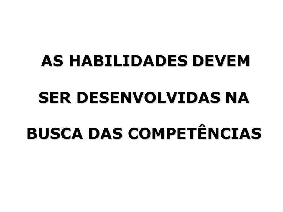 AS HABILIDADES DEVEM SER DESENVOLVIDAS NA BUSCA DAS COMPETÊNCIAS