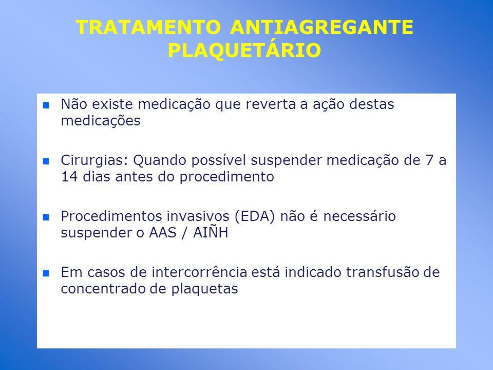 TRATAMENTO ANTIAGREGANTE PLAQUETÁRIO n n Não existe medicação que reverta a ação destas medicações n n Cirurgias: Quando possível suspender medicação