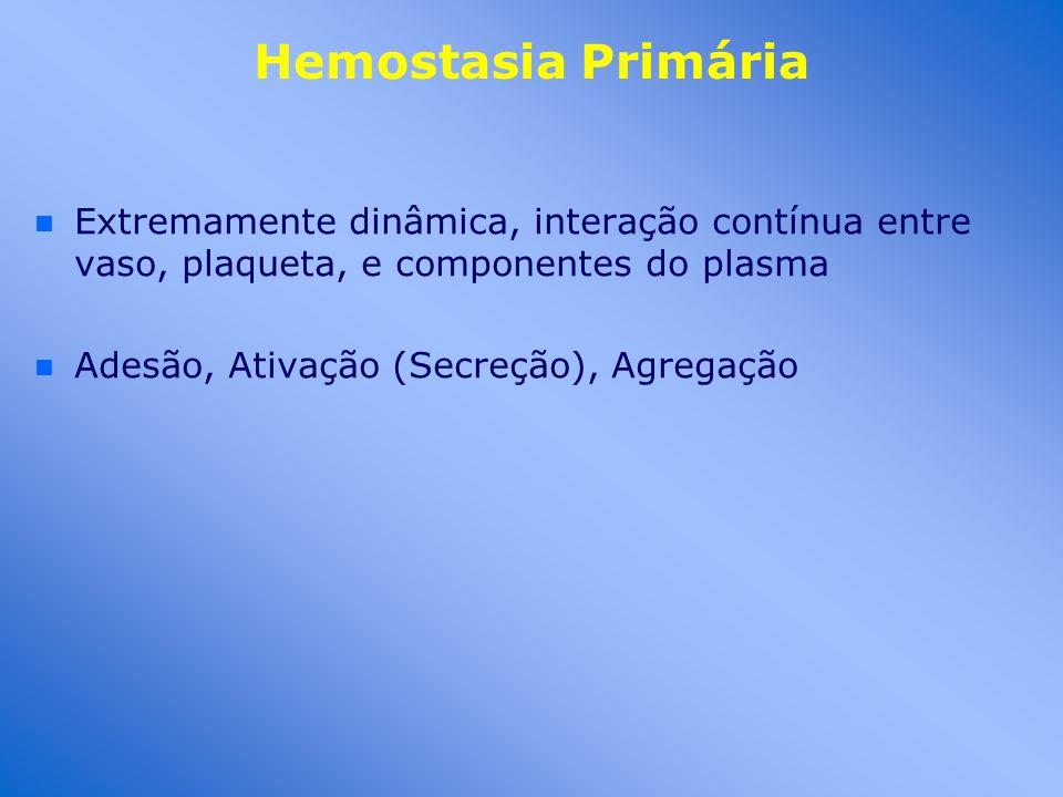 Hemostasia Primária n n Extremamente dinâmica, interação contínua entre vaso, plaqueta, e componentes do plasma n n Adesão, Ativação (Secreção), Agreg
