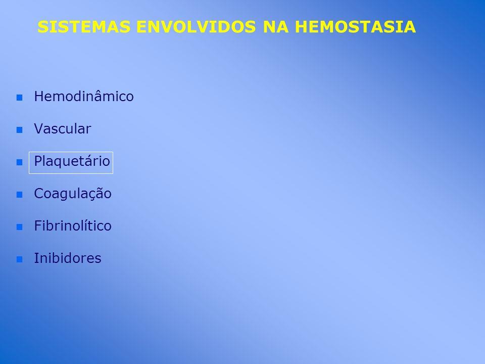 SISTEMAS ENVOLVIDOS NA HEMOSTASIA n n Hemodinâmico n n Vascular n n Plaquetário n n Coagulação n n Fibrinolítico n n Inibidores
