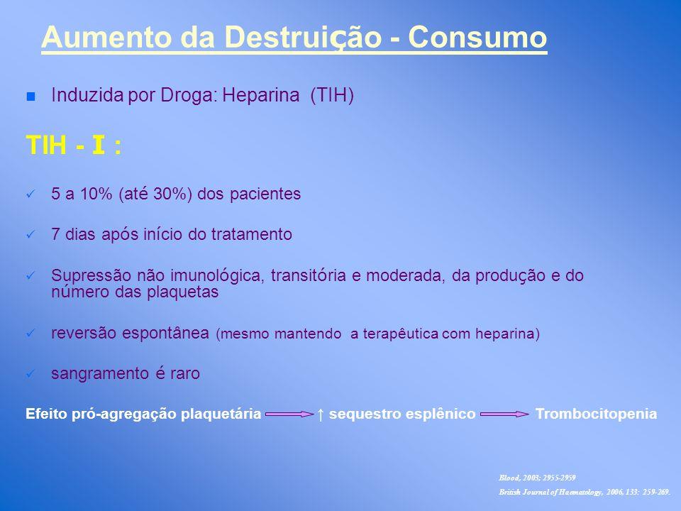 n n Induzida por Droga: Heparina (TIH) TIH - Ι : 5 a 10% (at é 30%) dos pacientes 7 dias ap ó s in í cio do tratamento Supressão não imunol ó gica, tr