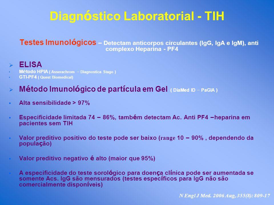 Diagn ó stico Laboratorial - TIH Testes Imunol ó gicos – Detectam anticorpos circulantes (IgG, IgA e IgM), anti complexo Heparina - PF4 ELISA M é todo