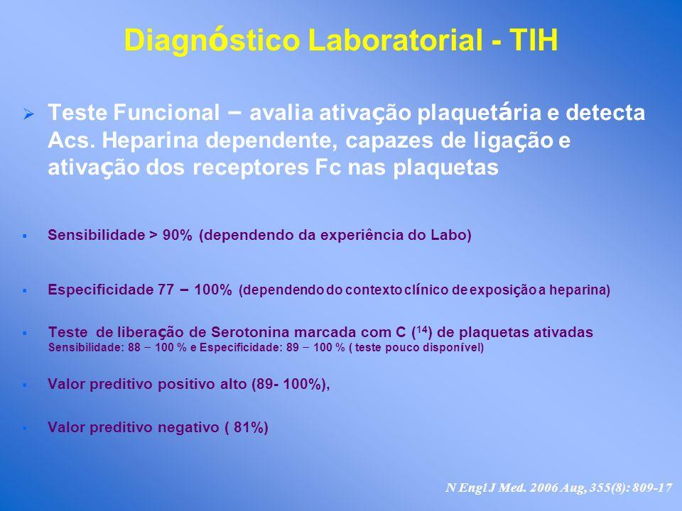 Diagn ó stico Laboratorial - TIH Teste Funcional – avalia ativa ç ão plaquet á ria e detecta Acs. Heparina dependente, capazes de liga ç ão e ativa ç