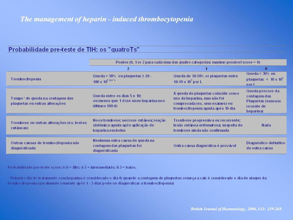 British Journal of Haematology, 2006, 133: 259-269. The management of heparin - induced thrombocytopenia