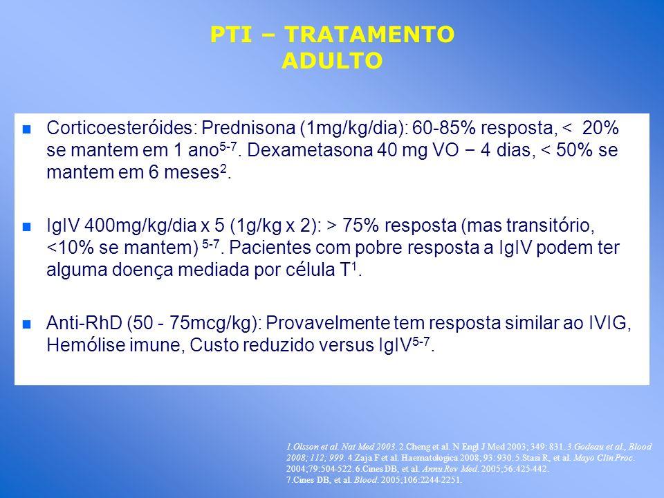 Corticoester ó ides: Prednisona (1mg/kg/dia): 60-85% resposta, < 20% se mantem em 1 ano 5-7. Dexametasona 40 mg VO – 4 dias, < 50% se mantem em 6 mese