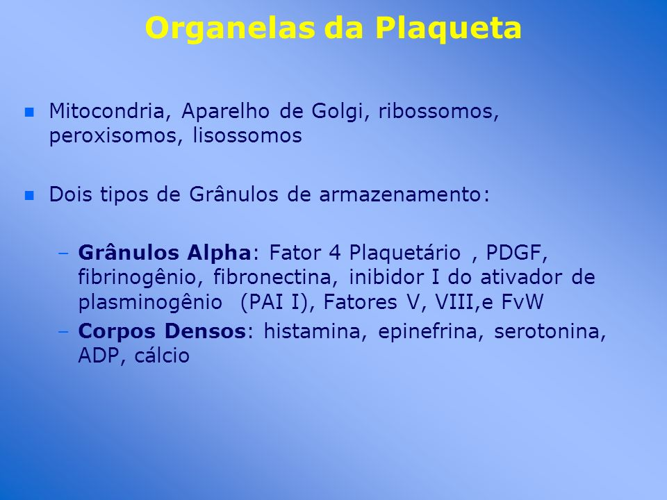 Organelas da Plaqueta n n Mitocondria, Aparelho de Golgi, ribossomos, peroxisomos, lisossomos n n Dois tipos de Grânulos de armazenamento: –Grânulos A