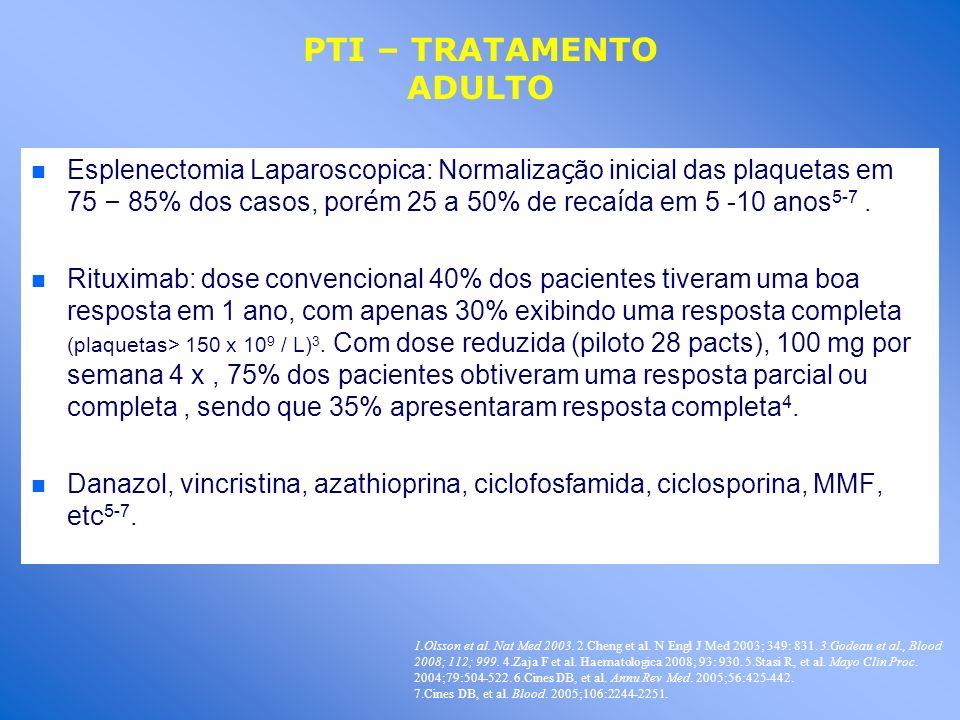 Esplenectomia Laparoscopica: Normaliza ç ão inicial das plaquetas em 75 – 85% dos casos, por é m 25 a 50% de reca í da em 5 -10 anos 5-7. n n Rituxima
