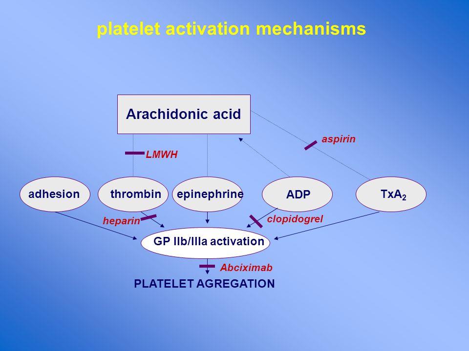 platelet activation mechanisms Arachidonic acid TxA 2 aspirin epinephrinethrombin LMWH ADP adhesion GP IIb/IIIa activation PLATELET AGREGATION clopido