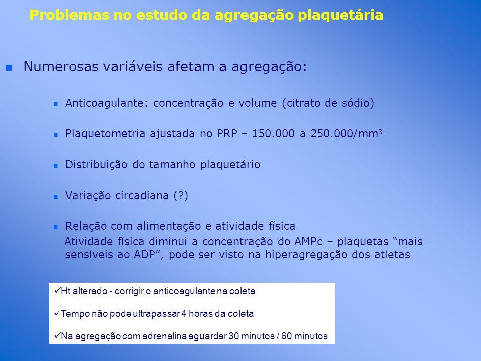Problemas no estudo da agregação plaquetária n n Numerosas variáveis afetam a agregação: n Anticoagulante: concentração e volume (citrato de sódio) n