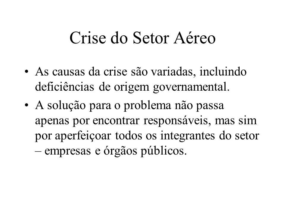 Crise do Setor Aéreo As causas da crise são variadas, incluindo deficiências de origem governamental. A solução para o problema não passa apenas por e